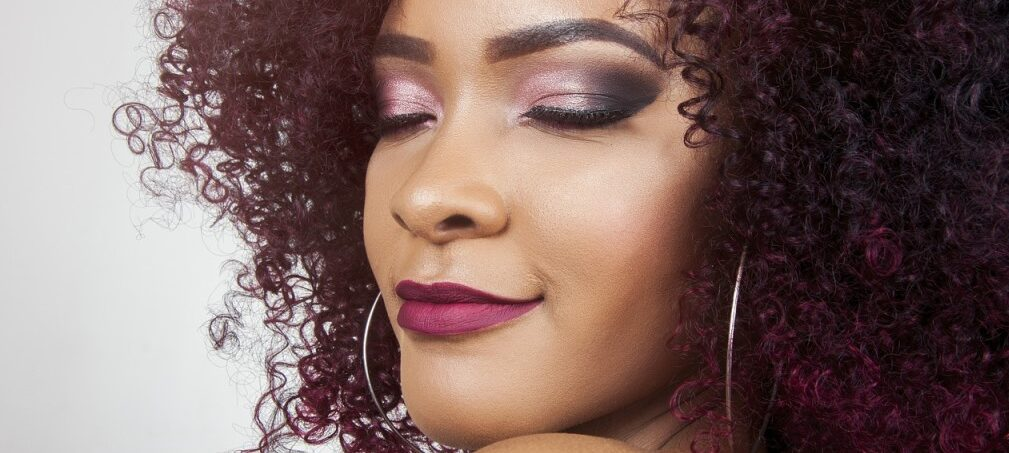 a curly lady showing her nice lips