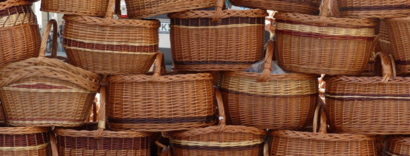 a number of woven basket piled